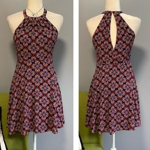 Express Geometric Floral Fit & Flare Dress C3